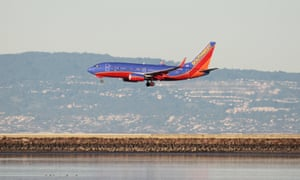 A Southwest Airlines plane prepares for landing.