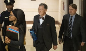 George Kent, a deputy assistant secretary of state, second from right, arrives to appear before a joint session of House committees considering possible impeachment of Donald Trump.
