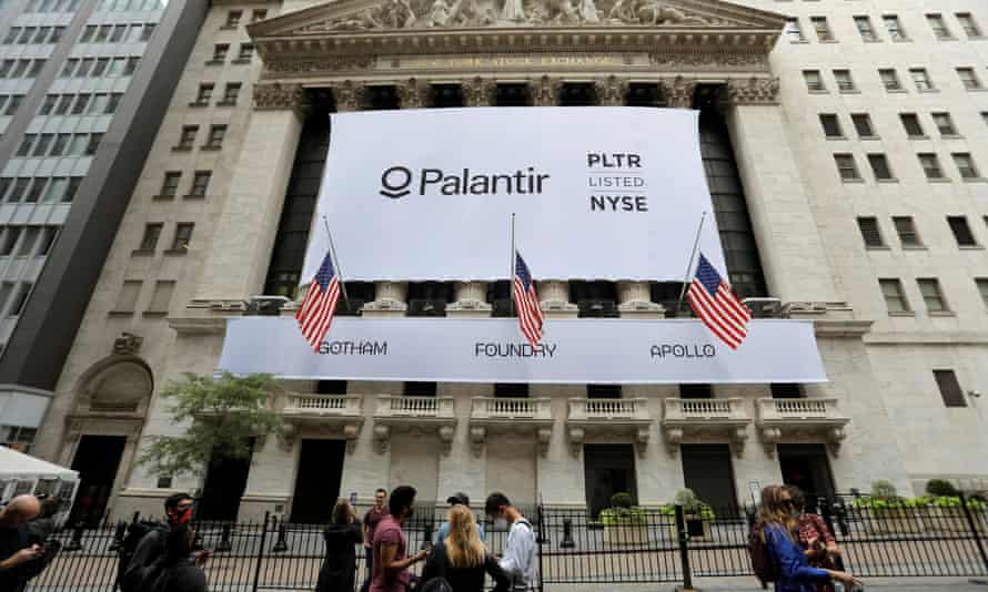 A Palantir banner outside the New York Stock Exchange on the day of its initial public offering in New York on 30 September 30, 2020.