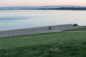 An empty Anzac Cove on the Gallipoli peninsula at dawn today.