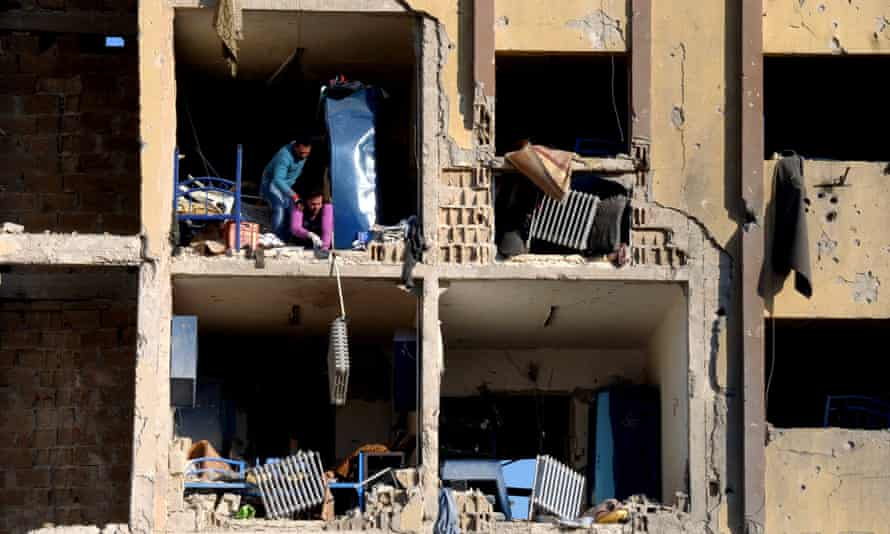 The rubble of a damaged university building caused by an explosion in Aleppo.