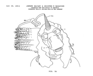 Bailey's Patent Drawing #7: Apparatus for the Display of Wearable Augmented Reality Unicorn Face on the Internet (2013).