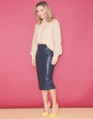 Jess Cartner-Morley in baggy jumper, skirt and high heels