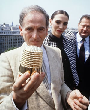 Cardin is seen after being awarded the Golden Thimble a fashion award in Paris in 1982