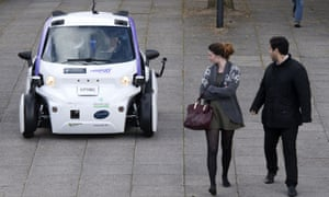 A self-driving vehicle being tested in Milton Keynes