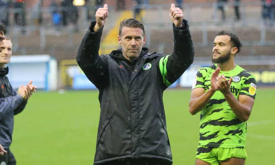 Rob Edwards salutes Forest Green's fans after the League Two win at Carlisle.