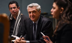 The UN high commissioner for refugees, Filippo Grandi, speaks during a press briefing in Cairo