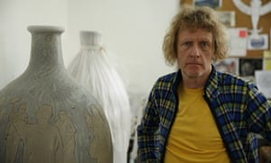 Artist Grayson Perry with his Brexit pots.
