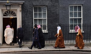 Saudi Arabia ministers arrive at Downing Street with Mohammad bin Salman today.