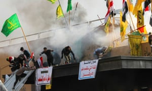 Protesters and militia fighters storm the US embassy in Baghdad