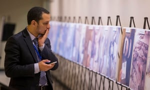 The exhibition at the UN consists of two dozen images selected from the roughly 55,000 photographs taken in Syria by a former military police photographer.