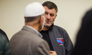 Ian Byrne talks with worshippers at a Liverpool mosque.