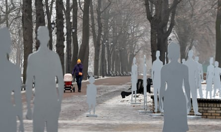 An installation in Kiev in 2014 aimed to raise awareness of human trafficking: the silhouettes represent the thousands of Ukrainians who have been trafficked since 1991, according to the IOM.