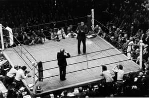 Muhammad Ali addresses the crowd ahead of Santiago Alberto Lovell v Joe Bugner bout in December 1974
