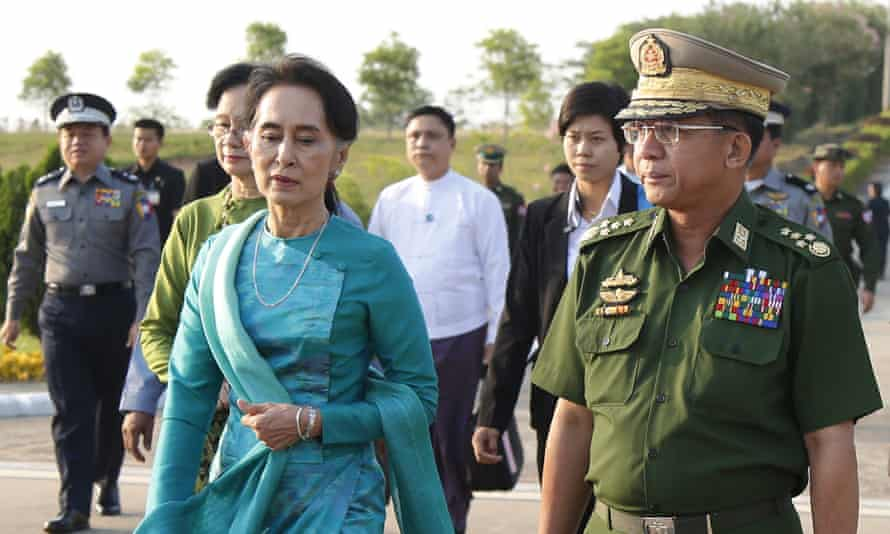 Aung San Suu Kyi and the head of Myanmar's military, General Min Aung Hlaing