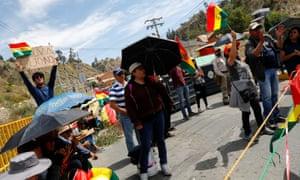 Protestors block a road in La Paz, Bolivia, on Monday.