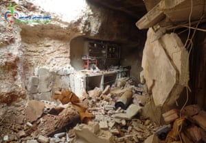 The basement of the Taleb family's hgome after being hit by a chlorine-filled barrel bomb
