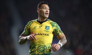 Israel Folau playing for the Wallabies