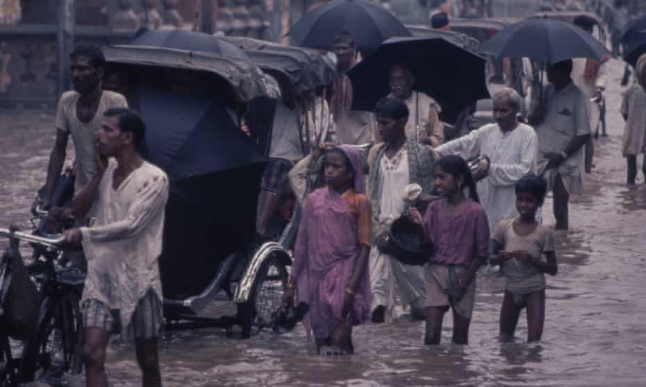 Floods in Benares, India, circa 1970.