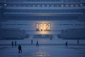 Portraits of the late North Korean leaders Kim Il-Sung and Kim Jong-il in Pyongyang, North Korea