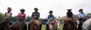 From left to right: Ivannah-Mercedes, Lorraine Toussaint, Idris Elba, Caleb McLaughlin, Jamil Prattis and Cliff Smith in Concrete Cowboy.
