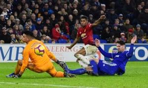 Manchester United's Marcus Rashford shoots at goal.