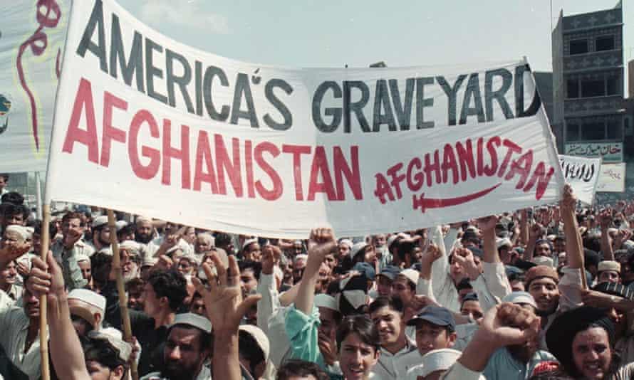 Pakistani protesters in Karachi in September 2001.