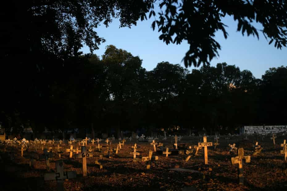 Crosses which are placed over graves, are pictured in Sao Francisco Xavier cemetery during the coronavirus disease (COVID-19) outbreak, in Rio de Janeiro, Brazil.