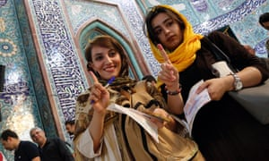 Voters in the Iranian presidential election, Tehran, May 2017