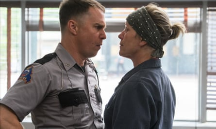 Sam Rockwell and Frances McDormand face off in Three Billboards Outside Ebbing, Missouri.