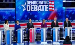 Democratic presidential candidates debate in Atlanta, Georgia, on 20 November.