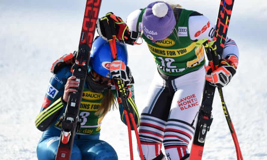 Mikaela Shiffrin (left) is comforted by Tessa Worley after Monday's victory