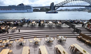 Empty tables at food and drink outlets at the Sydney Opera House