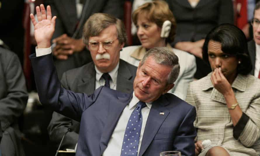 George W Bush at the United Nations with John Bolton and secretary of state Condoleezza Rice in 2005.