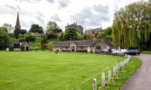 Masham cricket ground with the town and church in the background