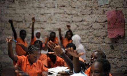 Female students at a school lesson in Kilifi, a Kenyan coastal town north of Mombasa
