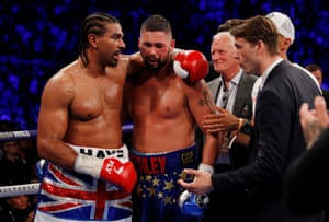 Haye congratulates Bellew after the fight.