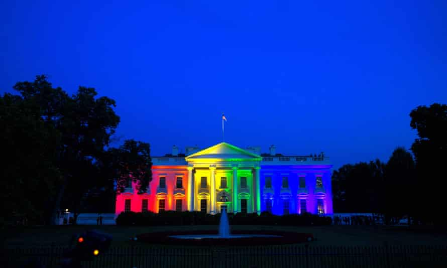 The White House is illuminated with rainbow light following the supreme court ruling in favor of same-sex marriage.