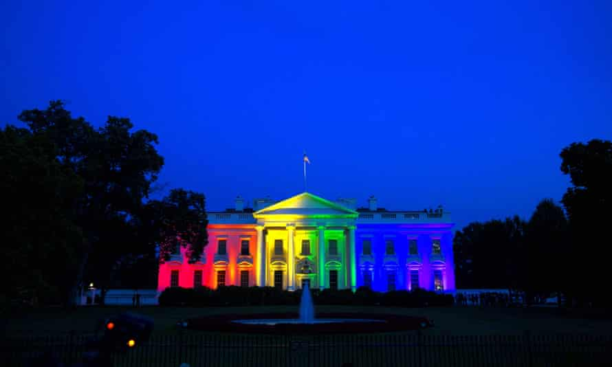 The White House is illuminated with rainbow light following the supreme court ruling in favor of same-sex marriage in June 2015.