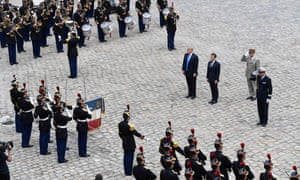 Trump with Macron in Paris last July. Critics have ridiculed the idea of a costly display at a time when the Pentagon is short of cash.
