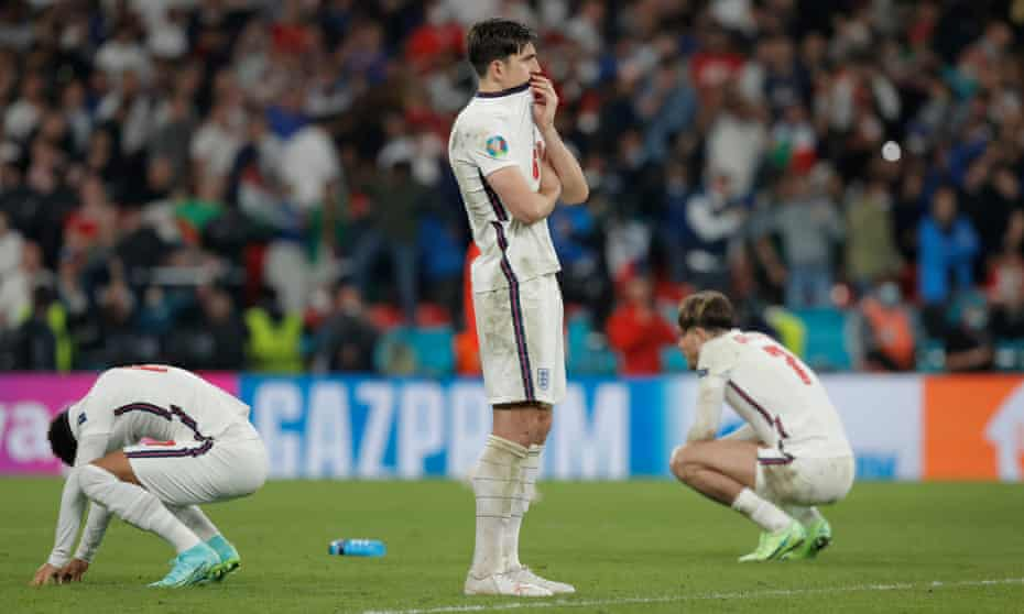 Harry Maguire is distraught after the shootout defeat to Italy in the Euro 2020 final.