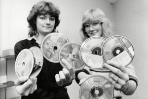 Acceptable in the 80s … two enthusiasts in 1984, the early years of compact discs.