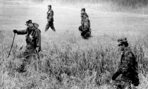 Minnesota guardsmen searched woods and fields hear the abduction site of Jacob Wetterling in 1989.