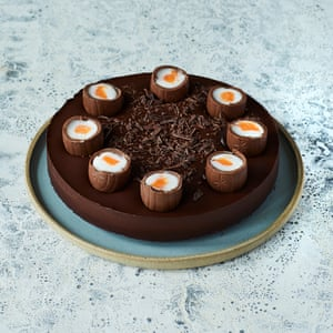 Choc full: Paul A Young's fondant egg brownie torte.