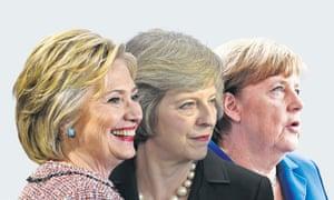 Hillary Clinton, Theresa May and Angela Merkel sport the pob.
