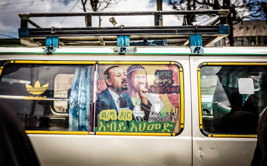 Van with poster for Abiy Ahmed