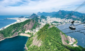 Scenic daytime view of the city skyline of Rio de Janeiro, Brazil with a Sugarloaf cable car passing
