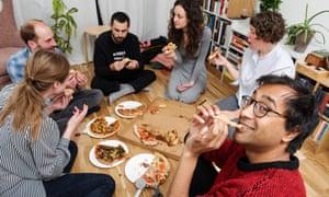 Rhik Samadder and friends testing take away pizzas.
