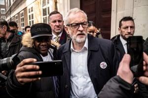 London, England. Jeremy Corbyn, the Labour party leader, meets university workers outside Birkbeck/Soas University of London,