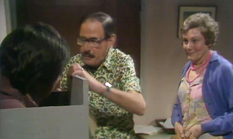Fred Mumford stuck in a filing cabinet in Rentaghost